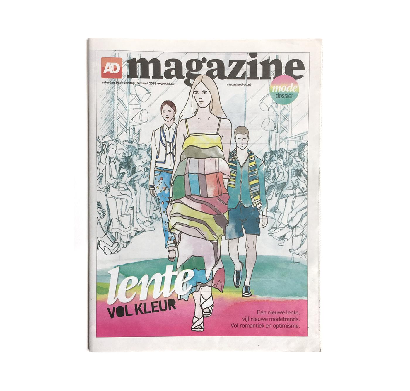 AD magazine cover fashion illustration