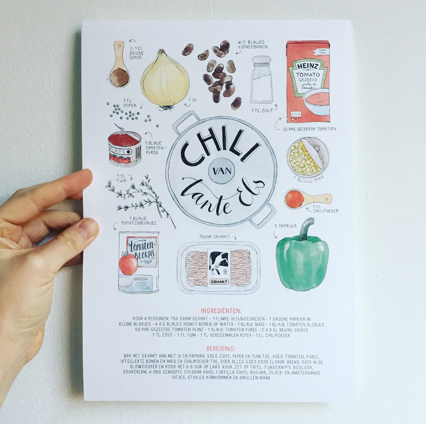 illustrated recipe poster