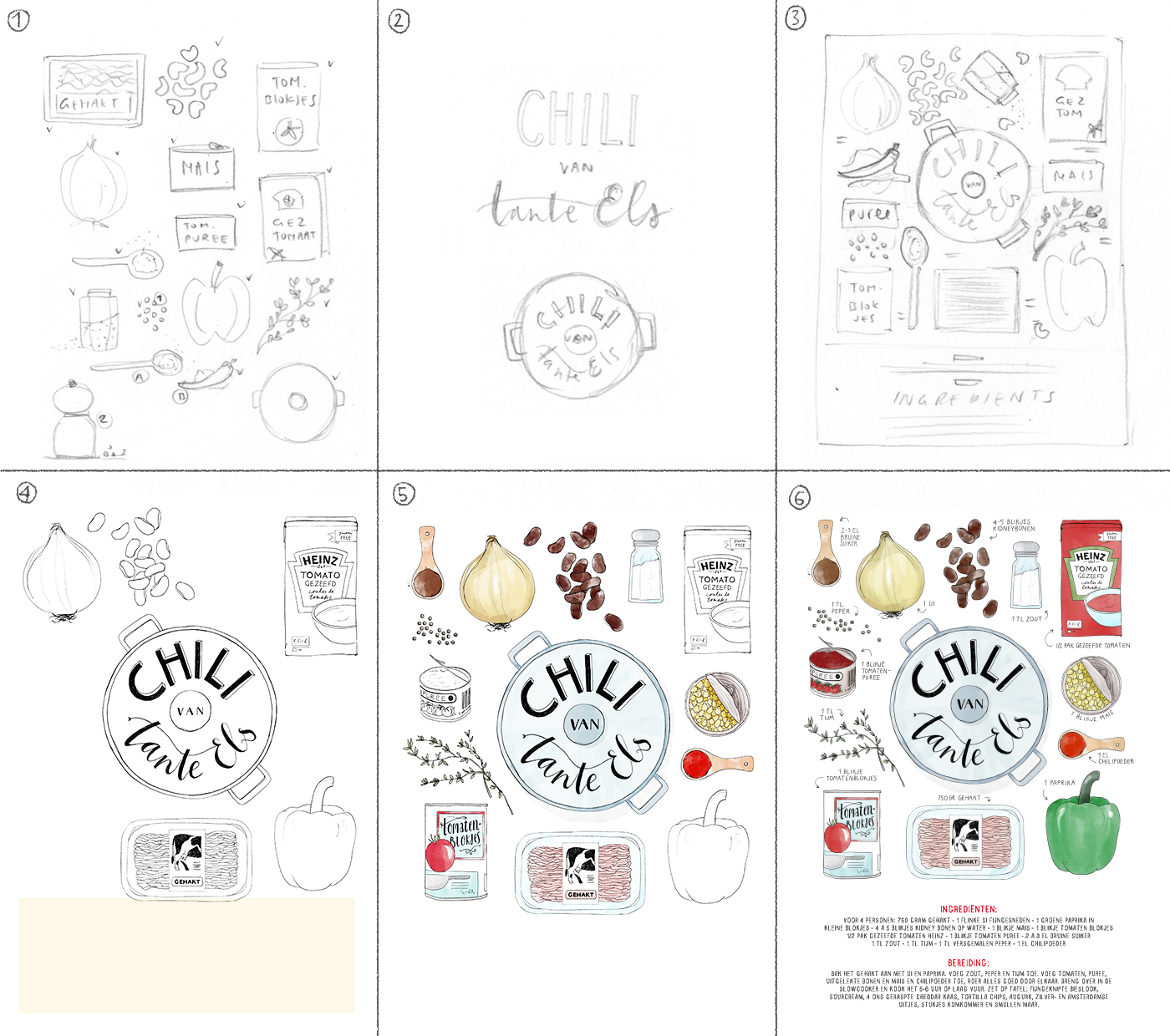 illustrated recipe poster from sketch to poster