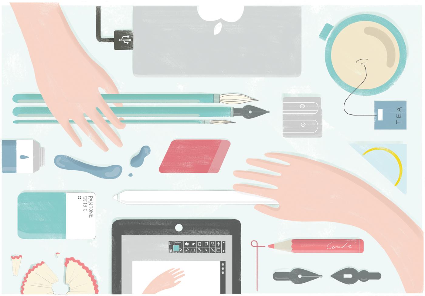 Tools of an illustrator. Illustration: Annemarie Gorissen