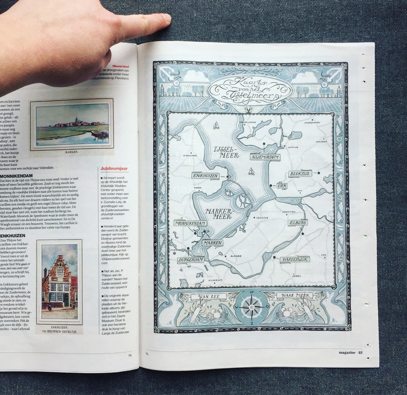 Illustration of the IJsselmeer in AD Magazine