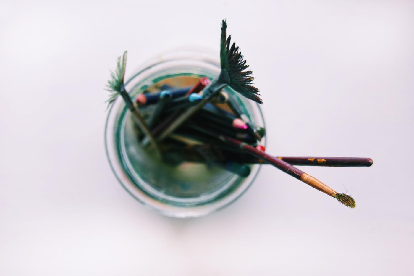 Brushes in a jar