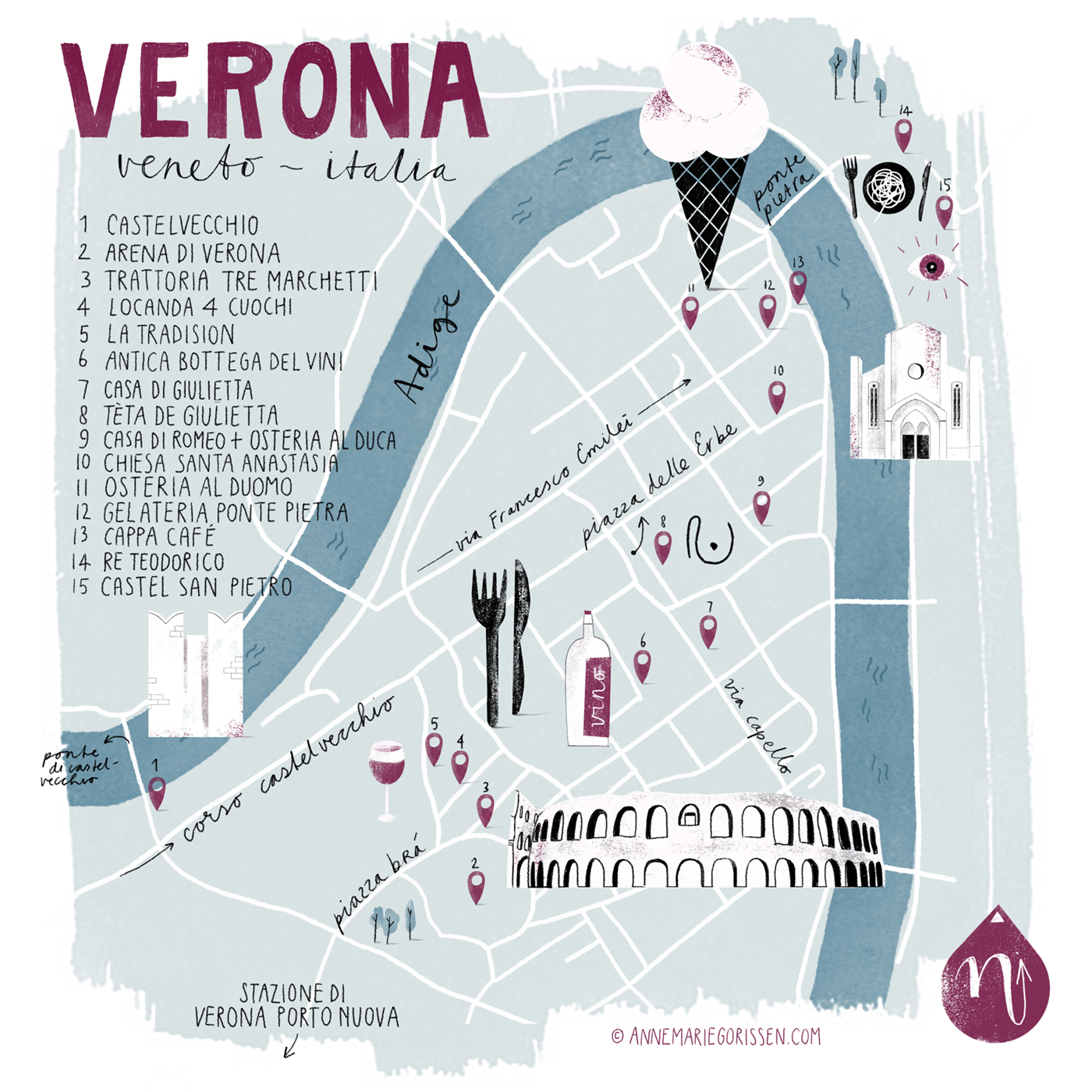 illustrated map of Verona