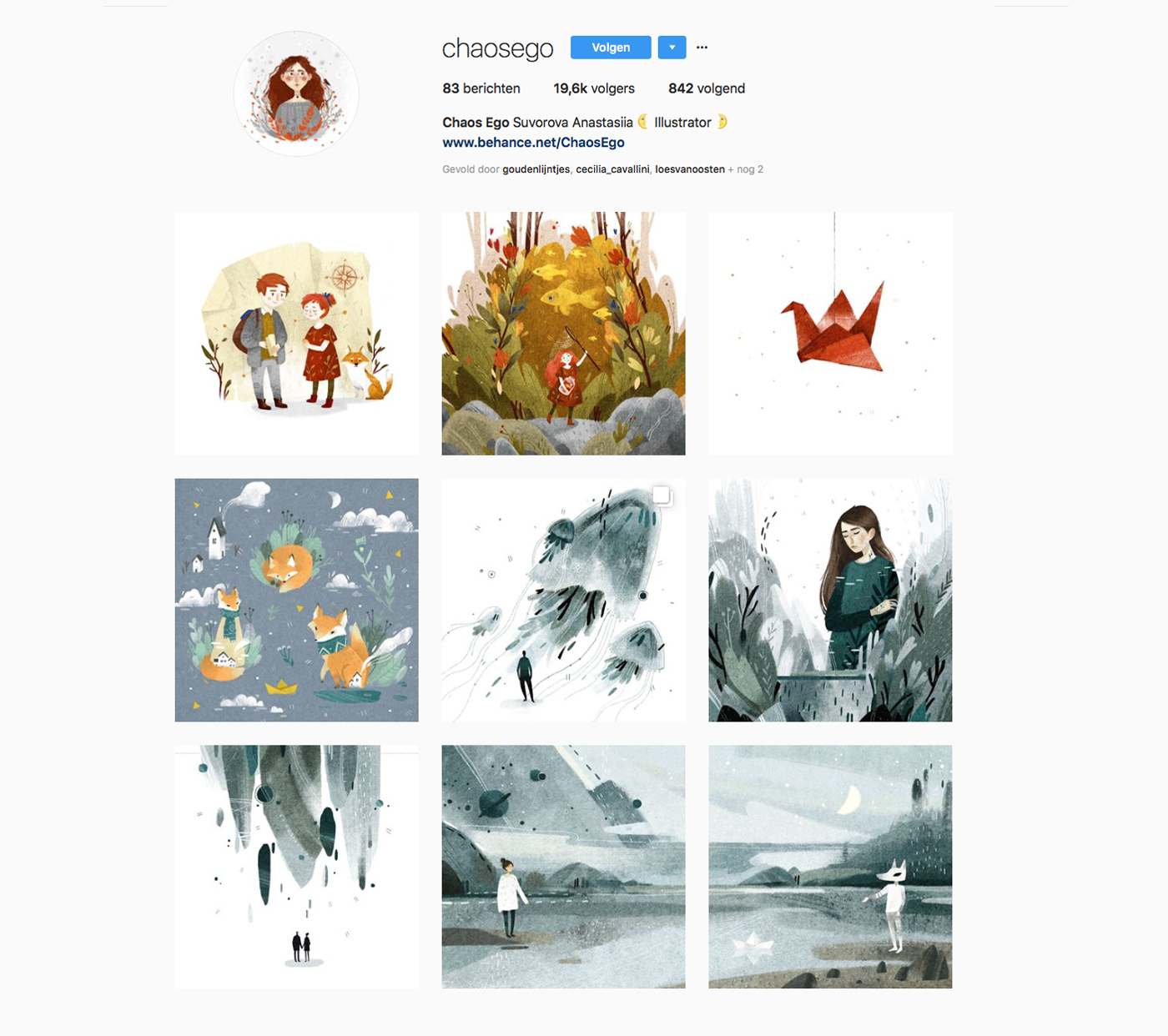 Instagram account of Suvorova Anastasiia