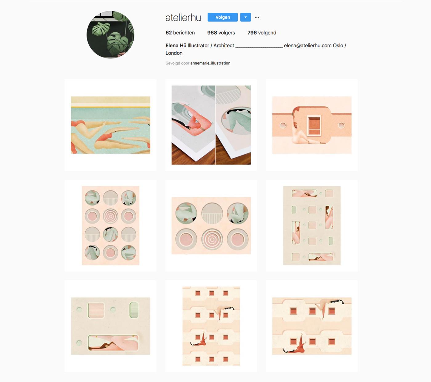 Instragram account of Elena Hu
