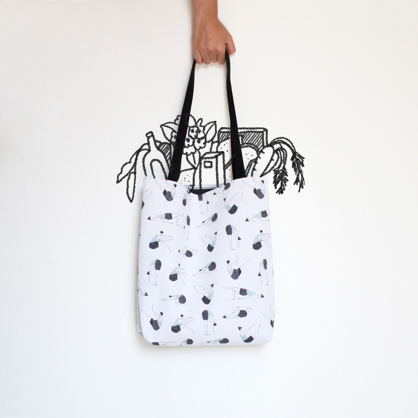 illustrated Pilates tote bag by Annemarie Gorissen.