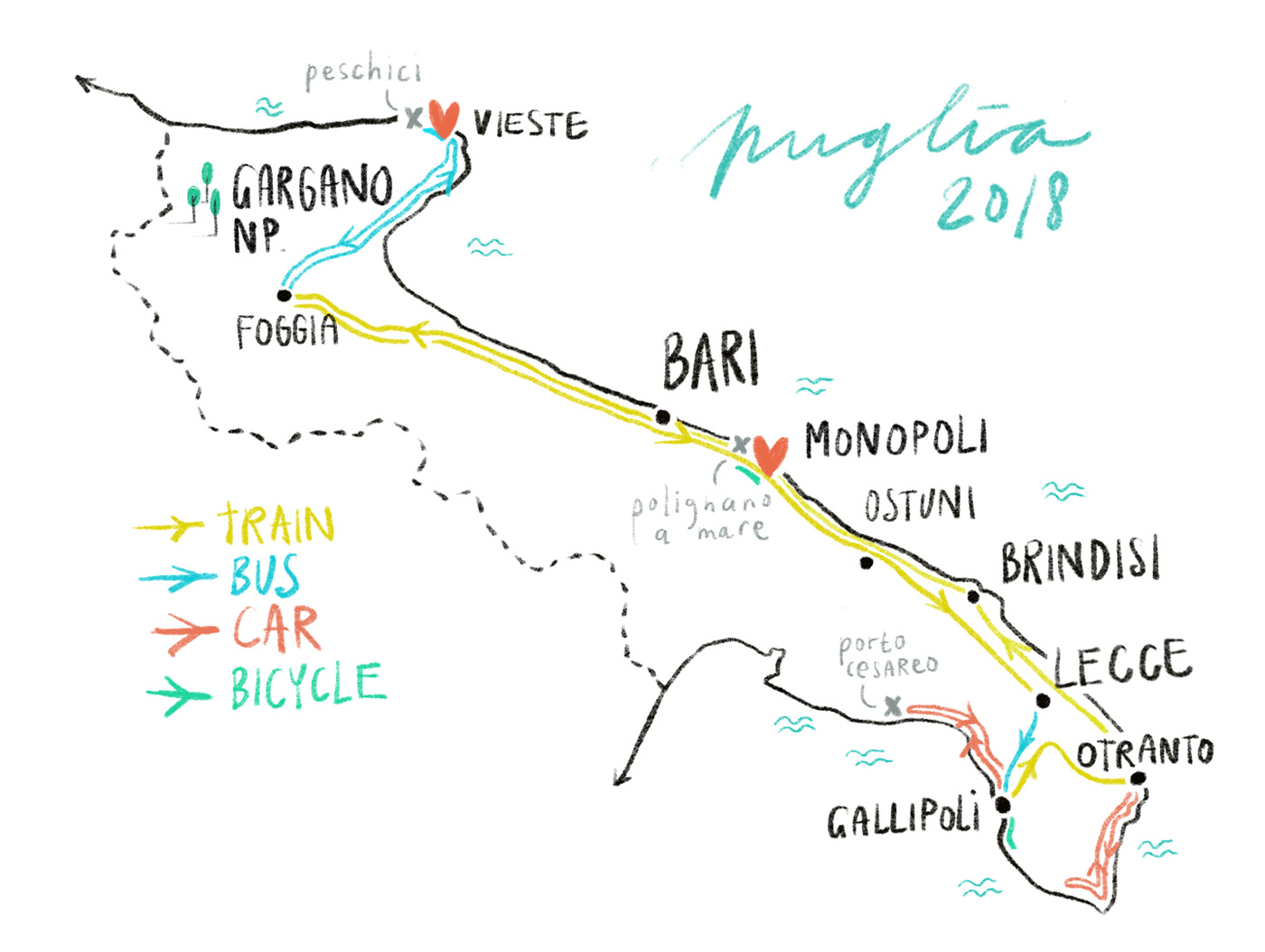 The map of our 2018 Puglia trip. To Bari by plane and then by car, bus, train and bicycle / illustration by Annemarie Gorissen