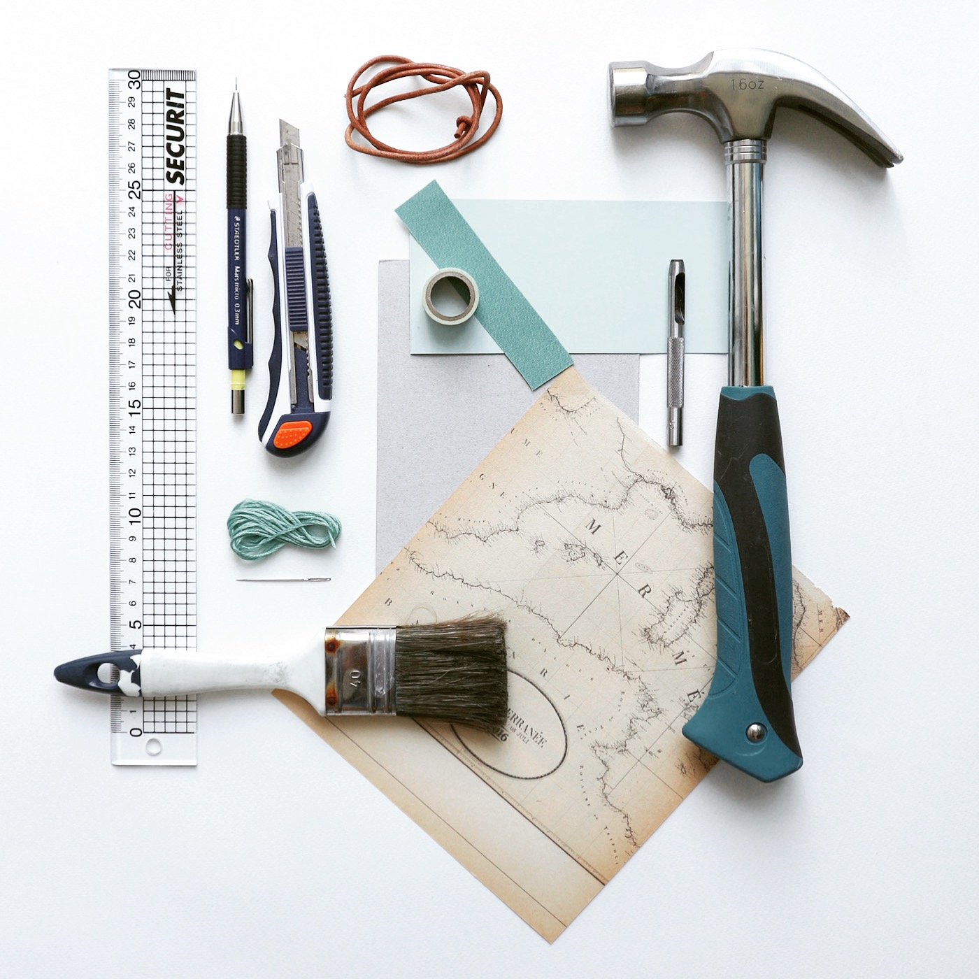 The tools I used to make this hand bound postcard book