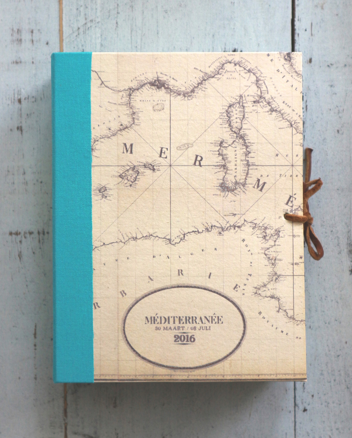 Our hand bound postcard book with a vintage Mediterranean map on the front