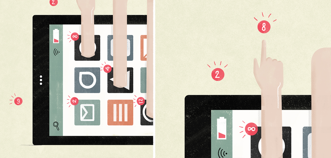Details of the illustration about your phone demanding attention