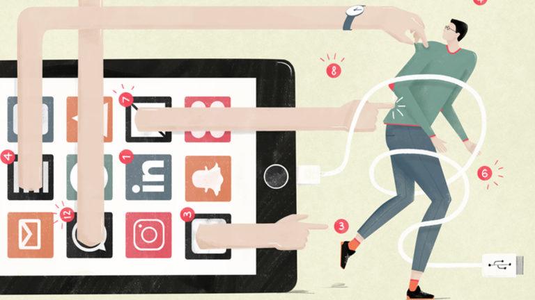 illustration phone distraction by Annemarie Gorissen