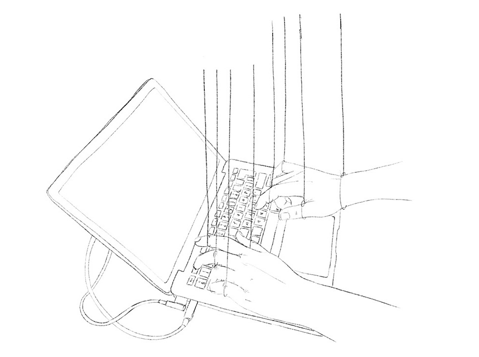 Second sketch (WIP): two hands typing