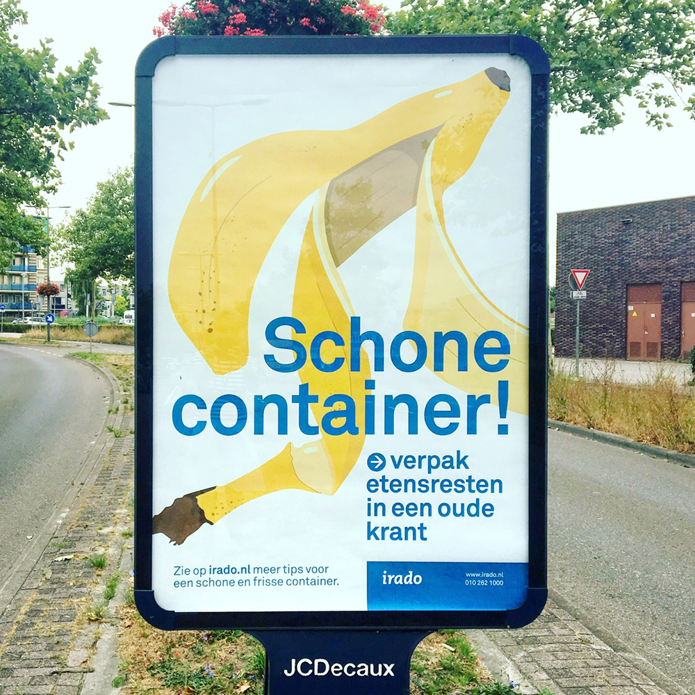 The Irado poster with the banana on it as seen in the wild, near Rotterdam