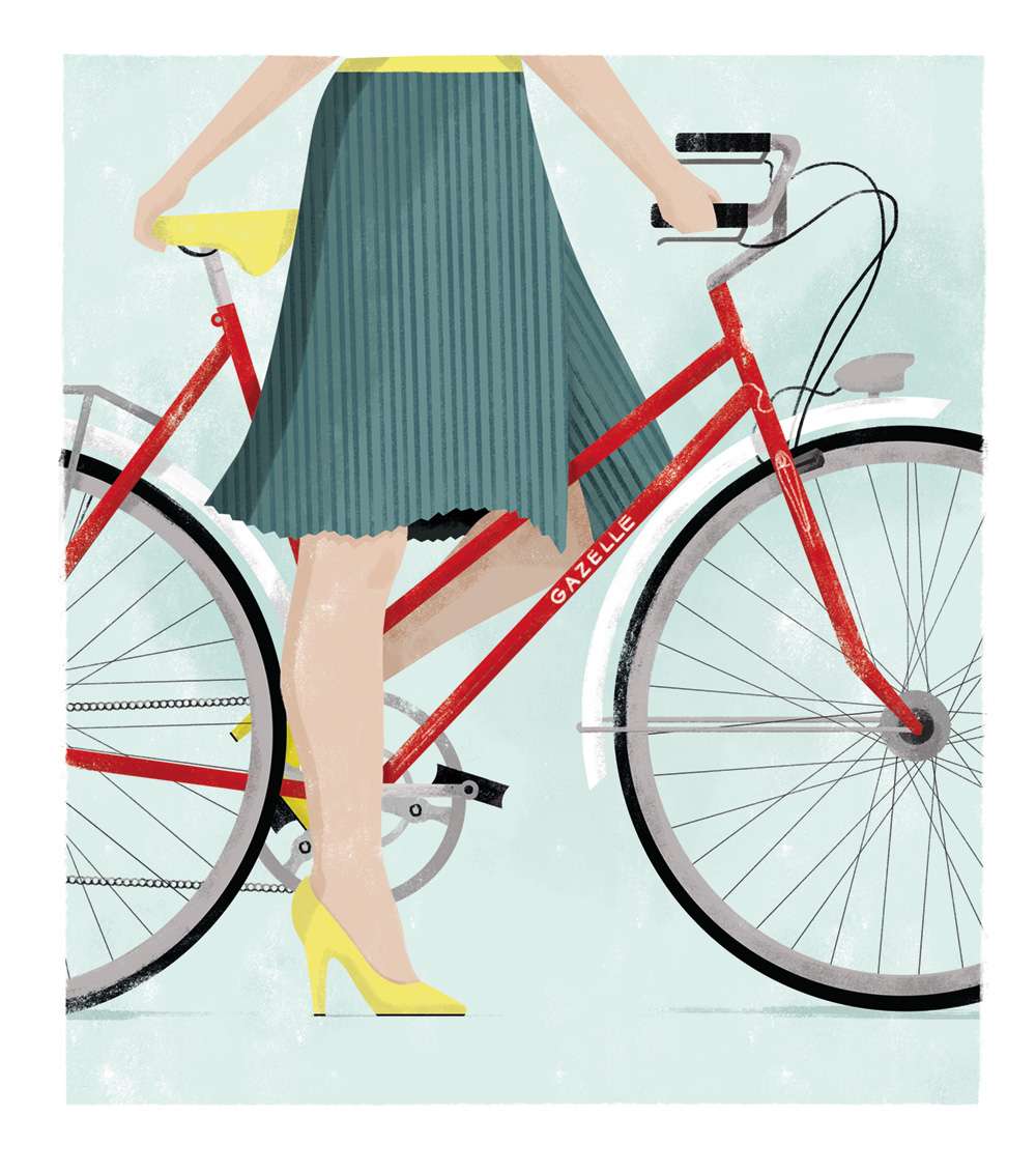 woman on a red bicycle, wearing heels / illustration by Annemarie Gorissen