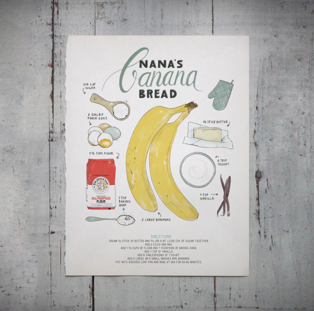 Banana bread, an illustrated recipe / illustration by Annemarie Gorissen