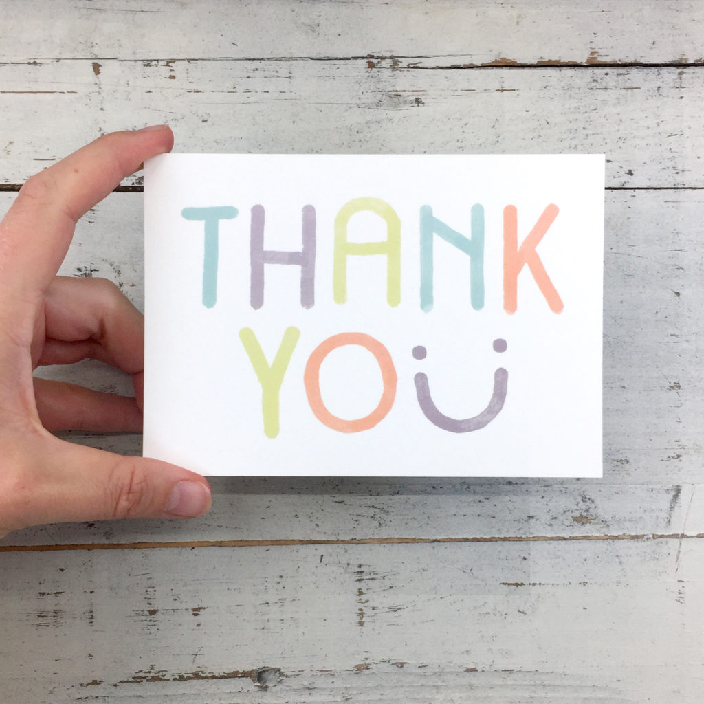 Thank you postcard, smile by Pencils & Pasta