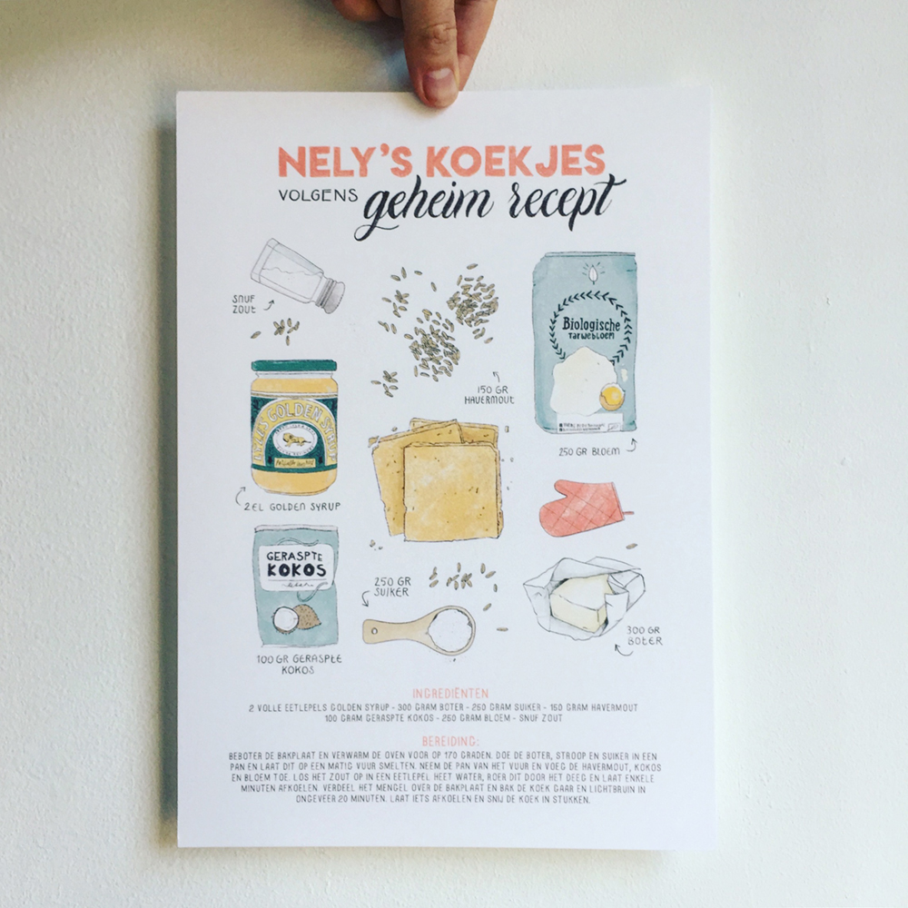 custom illustrated recipe poster by Annemarie Gorissen for Pencils and Pasta