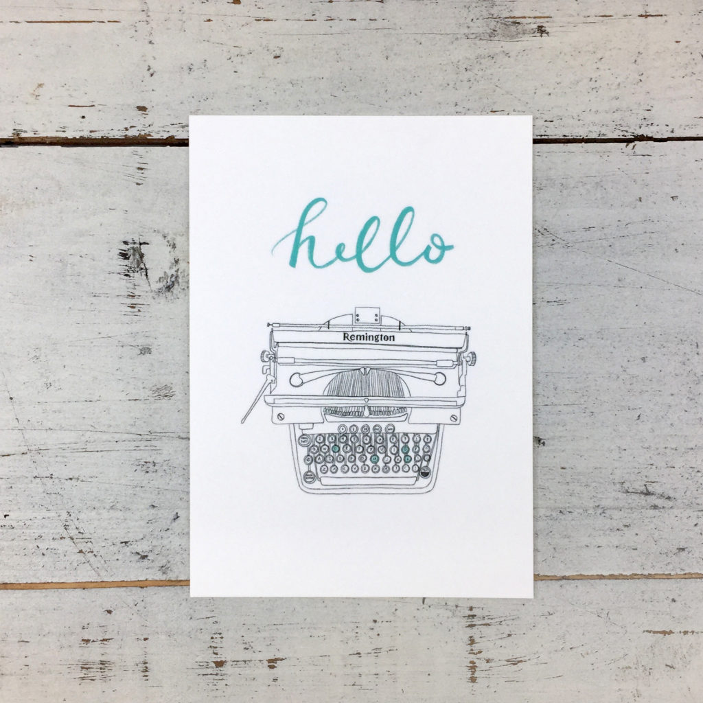 postcard Hello Vintage Typewriter, old Remington by Pencils & Pasta