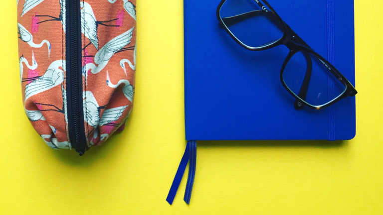 Back to school, pencil case and notebook