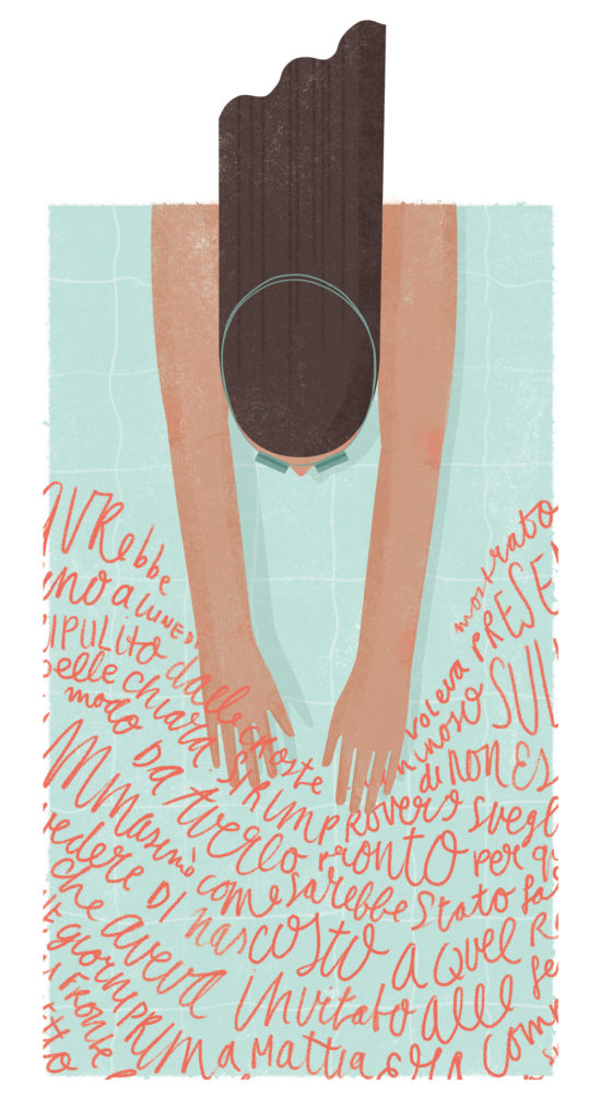 Learning a new language means you need to dive in // illustration by Annemarie Gorissen