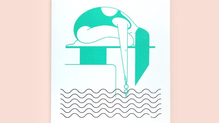Swim lady screen print by Annemarie Gorissen